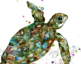 Turtle Art,  Turtle Print, Watercolor Print, Watercolor Painting, Turtle Painting, Beach House, Ocean Art, Animal Art, Nursery, Majik Horse