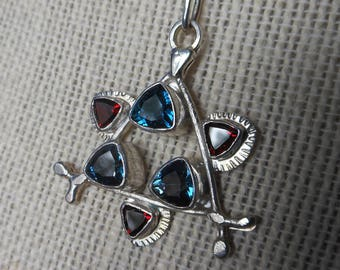 "Abstract Modern Art, Star of David,  3 London Blue Topaz and 3 Tanga Garnets on 18"" Sterling Box Chain, DSL Makers Mark,"
