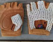 Vintage Cannondale Fingerless Leather/ Crochet Bicycle Glove