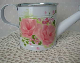 Watering Can Hand Painted Coral Pink Roses Home Decor Accent