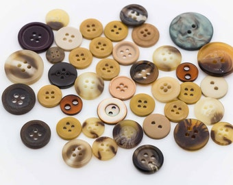 Brown Tan Plastic Buttons, 2 hole, 4 hole - FREE WITH 20.00 PURCHASE