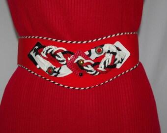 Vintage Red Belt, Red Fabric Belt, Red Black and White, Embellished Belt, Wide Belt, Contoured Belt, 1980s Fashion Belt, Adjustable Belt