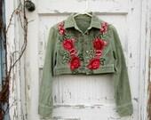 Embroidered Floral Applique Green Cropped CorduroyJacket Bolero Shrug//Medium//Festival Wear// Upcycled Bohemian// emmevielle