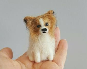 Needle felted Papillon dog ornament, Custom dog ornament, Custom pet portrait, Dog memorial, Dog lover gift