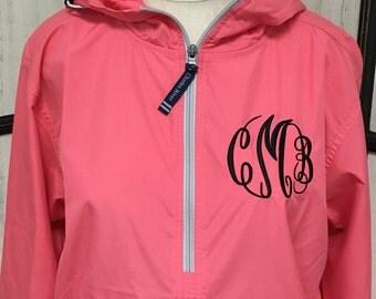 Monogrammed Rain Jacket Windbreaker, Personalized Rain Coat, Monogrammed Pullover Jacket, Monogram Rain Jacket, Charles River, Gift for Her