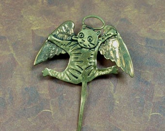 One of a Kind Vintage Hand Formed Brass Angel Cat Brooch Complete with Halo and Wings