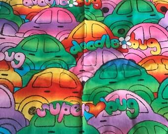 Colorful VW Rabbit-like Doodlebug Fat Quarter