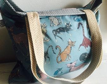 Cat bag, cat tote, cat diaper bag, cats, diaper bag, diaper tote, each bag, beach tote, purse, large tote, reversible tote, extra large tote