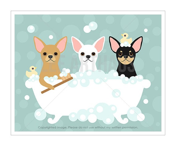 59F Animal Wall Art - Three Chihuahuas in Bathtub Wall Art - Chihuahua Print - White Chihuahua Drawing - Bath Art Prints - Bath Wall Decor