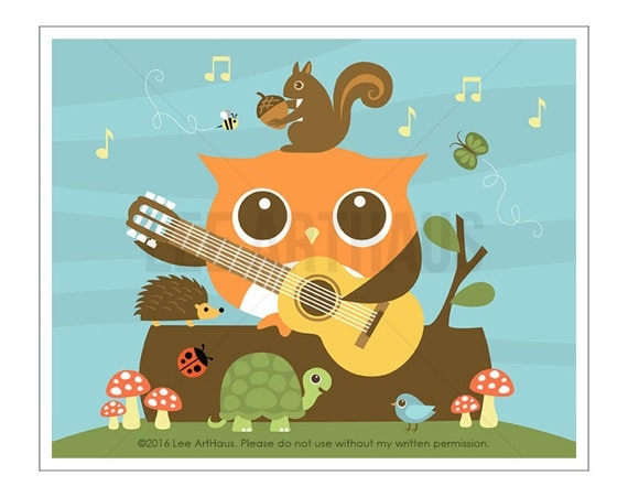120A Owl Nursery Print - Woodland Animals and Owl Guitar Wall Art - Owl Print - Owl Art - Guitar Print - Guitar Art - Woodland Animal Art