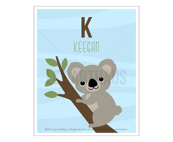 133P Koala Print - Personalized Letter K Koala Bear on Tree Wall Art - Koala Art - Custom Artwork - Boy Room Decor - Baby Boy Nursery Art