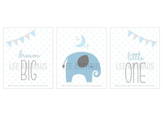 22S Boy Nursery Decor - Blue and Gray Boy Print Set - Set of 3 Prints - Dream Big Little One - Inspirational Nursery Art - Elephant Wall Art