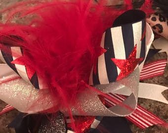 Patriotic hair bow with feathers