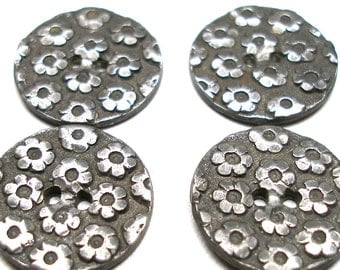 "4 Antique BUTTONS, Victorian pewter with flowers, 3/4""."