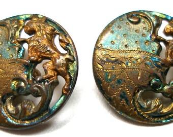 """2 Antique Heraldic LION BUTTONs, Edwardian Rampant Lion, 2/3""""."""