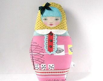 Matryoshka Doll, Nesting Doll, Modern Folk Doll, Cute Cloth Doll, Babushka Softie, Russian Doll, Collectable Doll