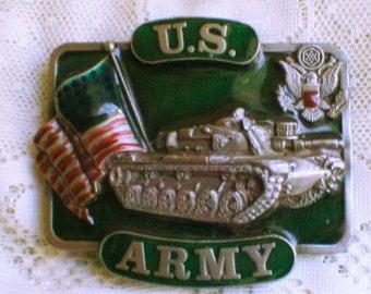 Belt Buckle US ARMY Pewter Enamel Made In USA Tank Flag Seal Bergamot Brass Works 1982 Vintage