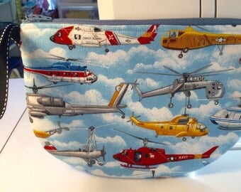 Zippered, Lined, Quilted Scoop Pouch - Helicopters - 9 in. X 7 in.