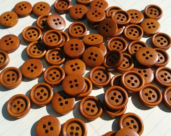 """Wood Buttons - Medium  Reddish Color - 15mm - 5/8"""" Wide - 50 Wooden Sewing Buttons"""