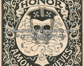 Madame Talbot's Victorian Lowbrow Honor Among Thieves Skull Poster