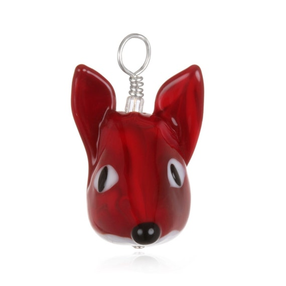 Glass Fox Pendant Necklace on Leather