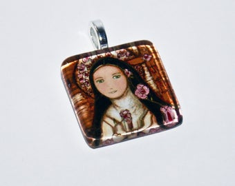 The Little Flower of Jesus  - Original Small Glass Tile Pendant  by FLOR LARIOS ART