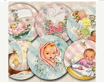 SALE BABY CIRCLES Collage Digital Images -printable download file Digital Collage Sheet Vintage Paper Scrapbook