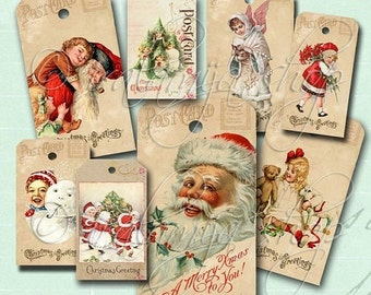 SALE CHRISTMAS GREETINGS Tags collage Digital Images  -printable download file-
