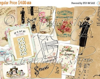 SALE DOMESTIC SEWING Collage Digital Images -printable download file-