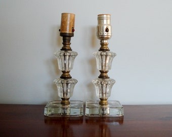 Pair of small glass table lamps