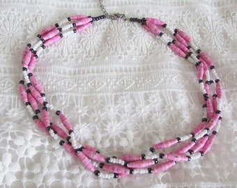 Pink white black paper beads multi strand necklace four beaded strands