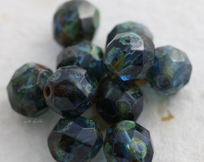 SAPPHIRE POPS No.2 .. 10 Premium Picasso Glass Czech Bead 8mm (5576-10)