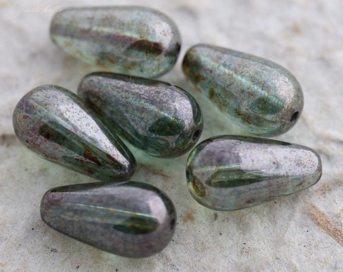 PINE DROPLETS .. 6 Picasso Czech Teardrop Beads 15x9mm (5592-6)