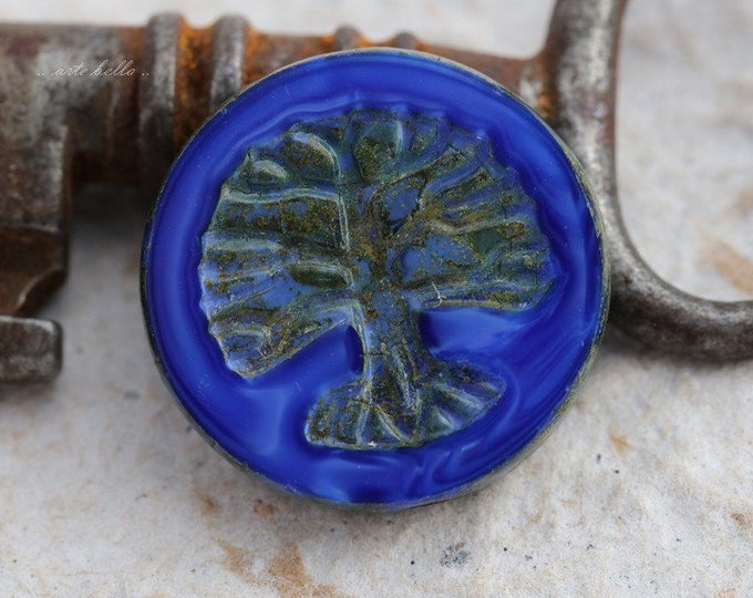 TREE OF LIFE No. 5682 .. 1 Premium Picasso Czech Glass Bead 22mm (5682-1)