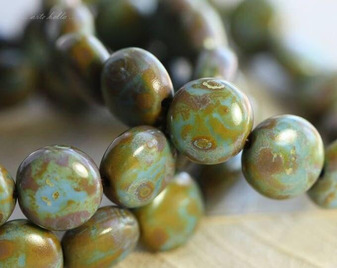 sale .. LICHEN BLUES No. 2 .. 15 Premium Picasso Czech Glass Lentil Beads 10mm (B2004-st)