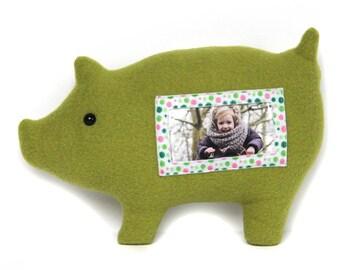 Varken fotolijst / knuffelvarken / groen varken / Furry Frame