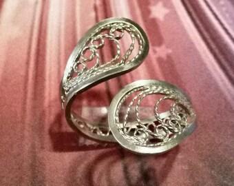 Sterling Silver Ring, Midi Ring, Adjustable Filigree Ring, Russian Filigree Ring,Statement Ring, Boho style toe ring, Handmade in USA, F-130