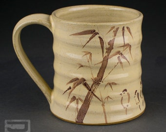Ceramic Decal Mug - Bamboo and Birds
