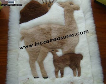 100% Baby Alpaca Geometric fur rug vicugna family FREE SHIPPING Worldwide
