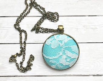 Handmade Fabric Pendant Necklace-Lace overlay Style and Theme- Perfect Gift or Add to Your Existing Collection-Wedding jewelry