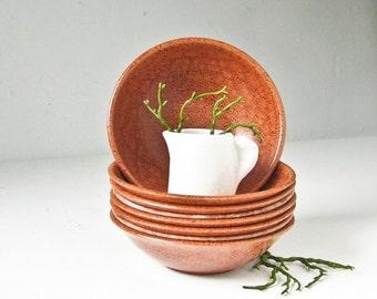 Sale Wood Salad Bowls, Agatized Bowls Mid Century, Dessert, Appetizer,  8 Berry Bowls