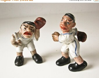 Sale Baseball Players Figurines, Porcelain Catcher and Pitcher, Play Ball Sculptures