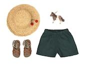 Green linen kids summer shorts