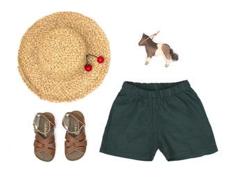 Green linen kids summer shorts