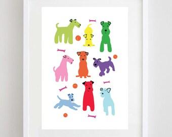 Coloured Dogs Print - Funny Dogs - Dog Print - Dog Poster - Terrier Print - Terrier Poster Dog Art - Kids Room Decor - Gift for Dog Lover