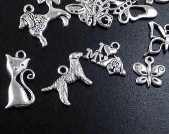 Dog Cat Butterfly CHOICE Charm Antique Silver Bead 10mm - 70mm Fish (1084chm70s1)