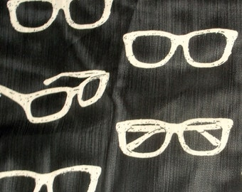 Eye Glasses Chiffon Semi Sheer Black Fabric BTY