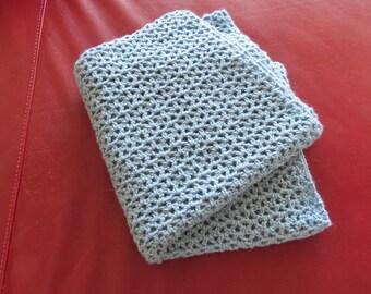 Blue Prayer Shawl / Hand Crocheted Shawl / Hand Croched Wrap / BootsandBelle / Free US Shipping