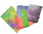 Handmade Paper Small Scraps Colorful Batik Painted Deckled Edge Paper Assortment DIY Paper Ideas Destash Small Paper