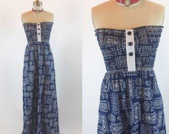 Vintage 70s Tube Handkerchief Floral Maxi Dress